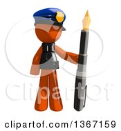 Clipart Of An Orange Man Police Officer Holding A Fountain Pen Royalty Free Illustration