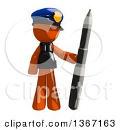 Clipart Of An Orange Man Police Officer Holding A Pen Royalty Free Illustration