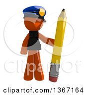Clipart Of An Orange Man Police Officer Holding A Pencil Royalty Free Illustration by Leo Blanchette