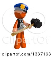 Clipart Of An Orange Man Police Officer Holding A Sledgehammer Royalty Free Illustration by Leo Blanchette