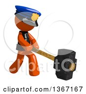 Clipart Of An Orange Man Police Officer Swinging A Sledgehammer Royalty Free Illustration by Leo Blanchette