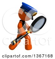 Clipart Of An Orange Man Police Officer Searching With A Magnifying Glass Royalty Free Illustration by Leo Blanchette
