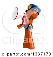 Clipart Of An Orange Man Police Officer Announcing With A Megaphone Royalty Free Illustration by Leo Blanchette