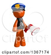 Clipart Of An Orange Man Police Officer Holding A Megaphone Royalty Free Illustration by Leo Blanchette