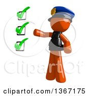 Clipart Of An Orange Man Police Officer Presenting A Check List Royalty Free Illustration by Leo Blanchette