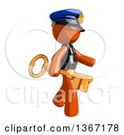 Clipart Of An Orange Man Police Officer Holding A Skeleton Key Royalty Free Illustration by Leo Blanchette