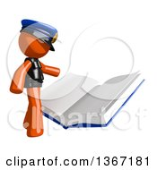 Clipart Of An Orange Man Police Officer Reading A Giant Book Royalty Free Illustration by Leo Blanchette