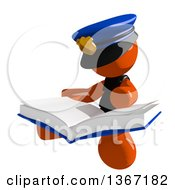 Clipart Of An Orange Man Police Officer Sitting And Reading A Book Royalty Free Illustration by Leo Blanchette