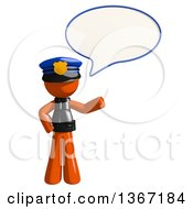 Clipart Of An Orange Man Police Officer Talking Royalty Free Illustration by Leo Blanchette