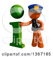 Clipart Of An Orange Man Police Officer With A Green I Information Icon Royalty Free Illustration by Leo Blanchette