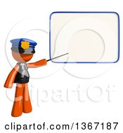 Clipart Of An Orange Man Police Officer Holding A Pointer Stick Against A White Board Royalty Free Illustration by Leo Blanchette