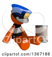 Orange Man Police Officer Begging And Sitting With A Can