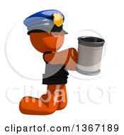 Orange Man Police Officer Begging And Kneeling With A Can