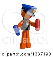 Clipart Of An Orange Man Police Officer Holding Pills Royalty Free Illustration by Leo Blanchette