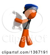 Clipart Of An Orange Man Police Officer Reading A List Facing Left Royalty Free Illustration by Leo Blanchette