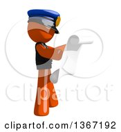 Clipart Of An Orange Man Police Officer Reading A List Facing Right Royalty Free Illustration by Leo Blanchette