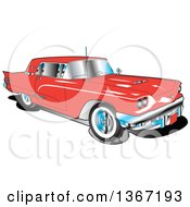 Clipart Of A Retro Vintage 1960 Red Ford Thunderbird Car Royalty Free Vector Illustration