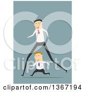 Clipart Of A Flat Design Long Legged White Business Man Passing A Short Man On Blue Royalty Free Vector Illustration by Vector Tradition SM