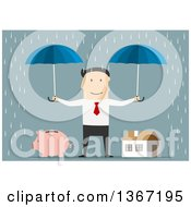 Clipart Of A Flat Design White Business Man Holding Umbrellas Over A Piggy Bank And House In The Rain On Blue Royalty Free Vector Illustration