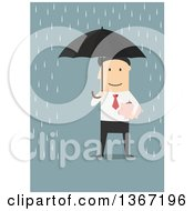 Clipart Of A Flat Design White Business Man Holding A Piggy Bank And Umbrella In The Rain On Blue Royalty Free Vector Illustration
