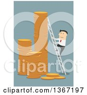 Clipart Of A Flat Design White Business Man Climbing A Ladder To The Top Of Coin Towers On Blue Royalty Free Vector Illustration by Vector Tradition SM