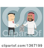 Clipart Of A Flat Design White Business Man Buying Oil From An Arabian Man On Blue Royalty Free Vector Illustration