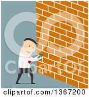 Clipart Of A Flat Design White Business Man Looking At Screen Of Smartphone And Walking Into A Wall On Blue Royalty Free Vector Illustration