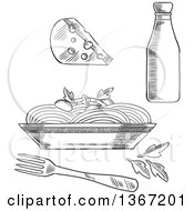 Clipart Of A Black And White Sketched Bottle Cheese And Bowl Of Pasta Royalty Free Vector Illustration