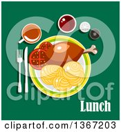 Clipart Of A Chicken Drumstick Pasta And Tea With Text On Green Royalty Free Vector Illustration