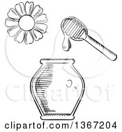 Clipart Of A Black And White Sketched Flower Dipper And Honey Jar Royalty Free Vector Illustration