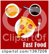 Clipart Of A Cheeseburger Pizza And Soda With Text On Red Royalty Free Vector Illustration