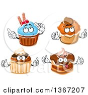Clipart Of Cupcake Characters Royalty Free Vector Illustration