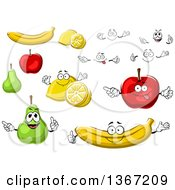 Clipart Of Bananas Lemons Pears And Apples Royalty Free Vector Illustration