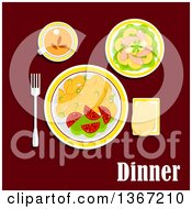 Poster, Art Print Of Dinner Served With Fried Potatoes Fresh Vegetables Seafood Pineapple And Lettuce Wheat Bread And Cup Of Black Tea And Text On Red
