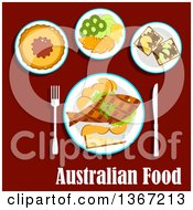 Clipart Of A Meal Of Australian Cuisine With Fish And Chips Meat Pie With Tomato Sauce Fruit Salad With Slices Of Apple Orange Kiwi And Lemon Fruits Toasts With Brown Australian Food Pasta With Text On Red Royalty Free Vector Illustration by Vector Tradition SM