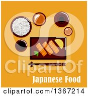 Clipart Of A Japanese Dinner With Salmon Sashimi Served By Lemon And Wasabi Pasta Wide Bowl With Rice Dipping Sauces Ceramic Sake Set And Chopsticks On A Rest With Text On Orange Royalty Free Vector Illustration