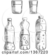 Clipart Of Black And White Sketched Bottles And Cups Royalty Free Vector Illustration