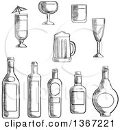 Clipart Of Black And White Sketched Alcohol Bottles And Cups Royalty Free Vector Illustration by Vector Tradition SM