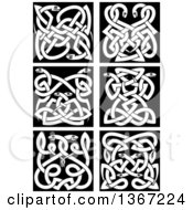 White Celtic Knot Snake Designs On Black