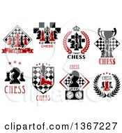Clipart Of Chess Piece Designs And Text Royalty Free Vector Illustration