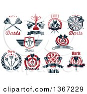 Clipart Of Throwing Darts Bullseyes And Text Designs Royalty Free Vector Illustration