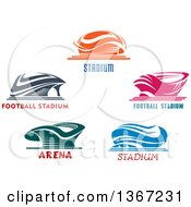 Clipart Of Stadium Arena Buildings With Text Royalty Free Vector Illustration