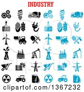 Clipart Of A Blue And Black And White Industry Icons Royalty Free Vector Illustration