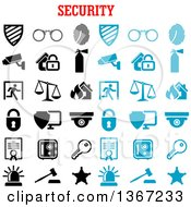 Blue And Black And White Security Icons