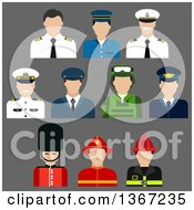 Clipart Of Flat Design Faceless Firefighter Soldier Pilot Security And Captain Avatars On Gray Royalty Free Vector Illustration