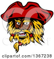 Clipart Of A Cartoon Tough Black Male Pirate Captain With A Blond Beard And Red Hat Royalty Free Vector Illustration