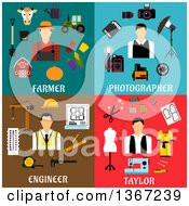 Clipart Of Farmer Photographer Engineer And Taylor Designs Royalty Free Vector Illustration
