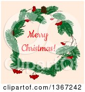 Clipart Of A Merry Christmas Greeting In A Wreath Over Tan Royalty Free Vector Illustration