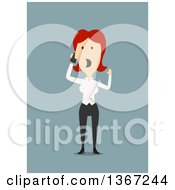 Clipart Of A Flat Design White Business Woman Screaming Into A Cell Phone On Blue Royalty Free Vector Illustration