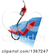 Clipart Of A 3d Gas Pump Nozzle Over A Blue Bar Graph With A Red Arrow Royalty Free Vector Illustration by Vector Tradition SM